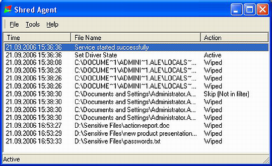 Shred Agent wipes files after being deleted